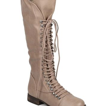 Womens Vegan Leather Toe Cap Lace-Up Knee High Boots Beige