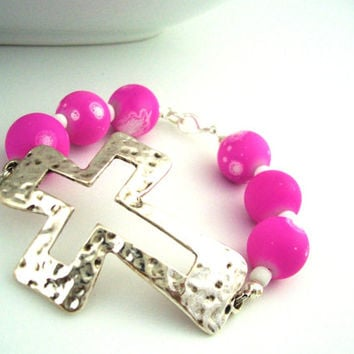 Silver Cross Bracelet, Chrisitan Jewelry, Pink Cross Bracelet, Christian Bracelet For Her, Pink Bracelet, Pink Jewelry