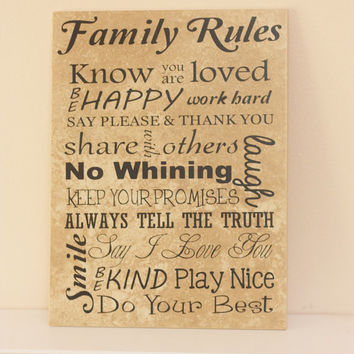 Word Art, Family Rules Decorative Tile - Word Collage - Typography