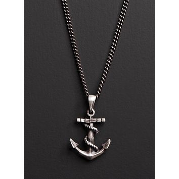 Oxidized Sterling Silver Anchor Necklace for Men