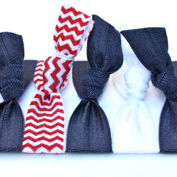 Cyber Monday SALE - Ribbon Hair Tie Package (5) No Pull Elastic Hair Bands - FOE Hair Accessories - Knotted Hair Tie Bracelet - Girl's Gift