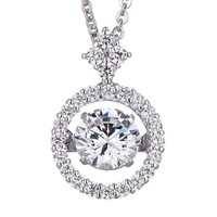.75ct (6mm) Sterling Silver Dancing Diamond - Diamond Veneer Round Pendant in perpetual motion 635P217