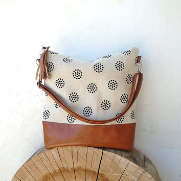 Large canvas jute bag, canvas crossbody bag, hobo bag, white shoulder bag, sport bag, cotton and leather bag, crossbody purse, handmade bag