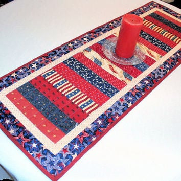 Country Patriotic Table Runner Quilt- Red, Tan, Blue Quilted Table Runner, Scrappy Stars and Stripes Quilt, 4th of July, Party Decor