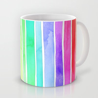 Bright Rainbow Colored Watercolor Paint Stripes Mug by micklyn