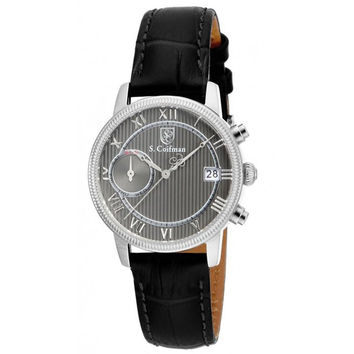 S. Coifman SC0334 Women's Watch Grey Dial Day/Date With Black Italian Leather Band