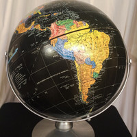 Vintage Black Replogle World Globe 12 inch Starlight World Map