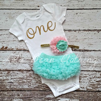 Baby Girl Baby Girl 1st Birthday Outfit Cake Smash Photography Props Gold One Onesuit Mint Bloomers Pink Gold White