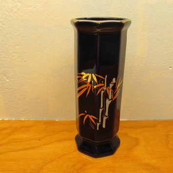 COBALT BLUE VASE WITH BAMBOO DESIGN AND GOLD TRIM