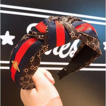 """GUCCI"" Popular Women Retro Simple Stripe Bee Sport Headwrap Headband Head Hair Band Coffee"