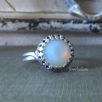 Frozen Ring Silver Ring Opal Ring Gold Brass Ring Moonstone Ring Winter Jewelry