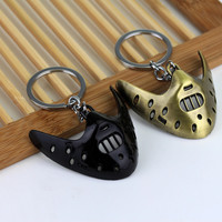 Classic Thriller Movie The Silence of the Lambs 3D Mask Keychain Hannibal Mask Key chain Metal Keychain Keyring New For Men