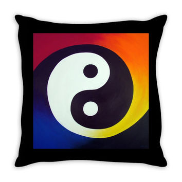 Balance - Throw Pillow of Rainbow Yin Yang Acrylic Paint Fine Art