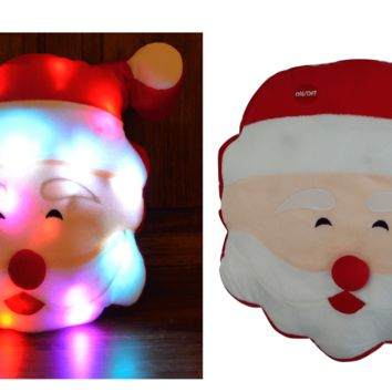 Tache Cute Christmas Lights Cheery Santa Microbead LED Throw Pillow