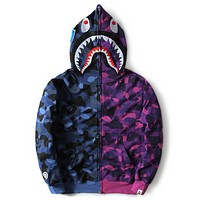 Bape Aape Shark Autumn thin section camouflage color camouflage sweatshirt long-sleeved jacket Purple