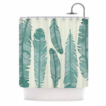 "KESS Original ""Balsam Feathers"" Beige Green Shower Curtain"