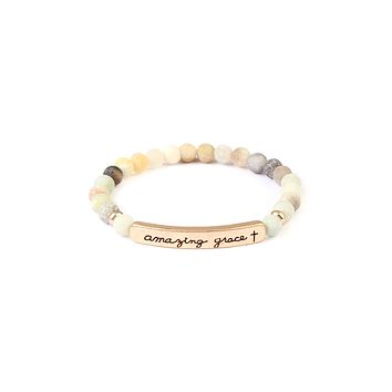 Amazing Grace Bar Natural Stone Bracelet