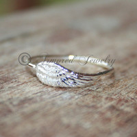Angel wing ring 2 - Sterling silver Angels
