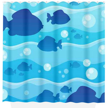 Fish SHOWER CURTAIN Water Waves Nautical Navy Blue Custom MONOGRAM Ocean Bathroom Decor Bath Beach Towel Plush Bath Mat Made in Usa