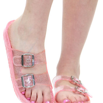 PINK GLITTER JELLY SLIDES