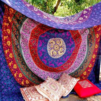 DCCKJG2 Retro Rectangular tapestry Indian Mandala Tapestry Hippie Wall Hanging Digital printing beach towels sunscreen square shawl