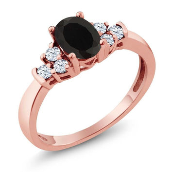 0.71 Ct Oval Black Onyx White Topaz 18K Rose Gold Plated Silver Ring