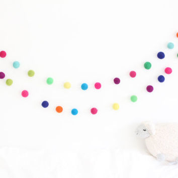 Nursery Decor- Birthday Party Garland-Felt Ball Garland- Rainbow Bunting- Color Me Happy- Felt Ball Decoration- Gender Neutral Nursery Decor