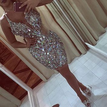 Ultra Sparkly Sequined Multi-Color Short Prom Dresses Eye Catching Mini Prom Gowns Amazing sexy Curto Nova vestidos de Baile