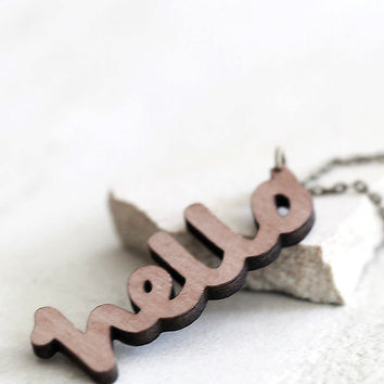 Wooden Greetings Necklace