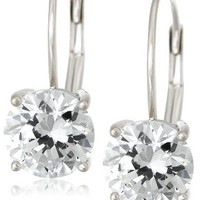 Platinum Plated Sterling Silver 6.5 mm Round Cubic Zirconia Lever Back Earrings (2 cttw)