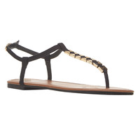 Gold Detail T-Strap Sandals | Wet Seal