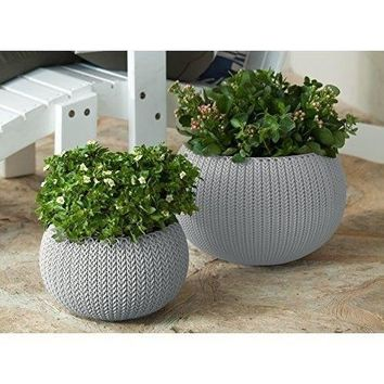 Pots Planters Set of 2 Pots Removable Liners Harvest Brown Outdoor Furniture