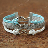Anchor bracelet-infinity symbol bracelet for your friends.Christmas gifts