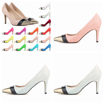 Fashion Stitching Multicolor Shallow Mouth Pointed Head Shoes Women Heels Shoes