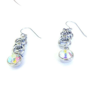 Aurora Borealis Earrings - Rainbow Crystal Earrings - Prism Earrings - Chainmaille Earrings - Bridal Earrings - Stocking Stuffers for Women