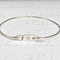 Two Initial with Heart Bangle Bracelet, Silver Love Initial Bangle, Lovers Jewelry, Initial Bangle Bracelet, Stamped Initials Jewelry