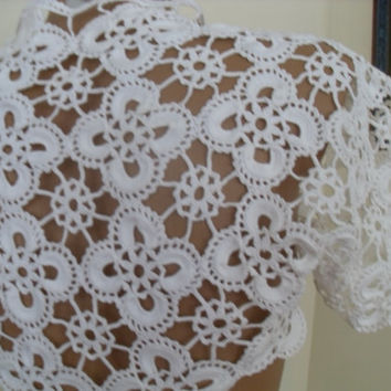 Lace Bolero, Shrug, Bridal Shrug Bolero, Wedding Lace Shrug Cape,braut bolero, Wedding Cover Up Bridal Shawl white Crop Lace Top S M L