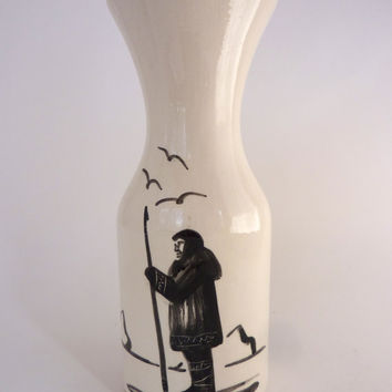 Vintage Pottery Vase Bering Sea Originals Alaska Native American Signed Armuk Eskimo Harpoon Glacier Birds Black White Carafe/ Vase