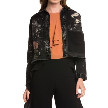 Women's Embellished Denim Crop Jacket
