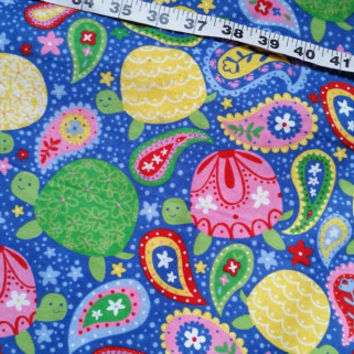 Paisley Flannel fabric with turtles cotton print quilters sewing material sew crafting project decor by the yard BTY 1 yard, turtle flannel