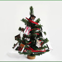 "10 Christmas Miniature Book Charms with 8"" Mini Christmas Tree"