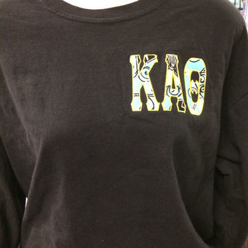 Kappa Alpha Theta left chest applique letters in the official sorority lilly!