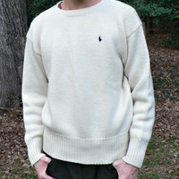 Ralph Lauren Polo 100% Wool Sweater - Pullover Crewneck - Winter White - Men's Size Large (L)