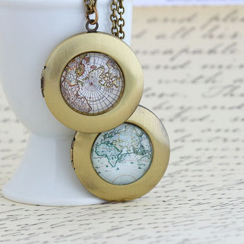 On Vacation - Necklace, Map Locket Necklace, Gift For Traveler, World Map, Map Jewelry, Gift For Woman