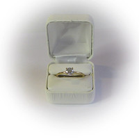 One Carat Round Cut CZ Diamond Simulant Ring in Gold Filled Tiffany