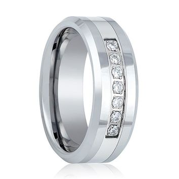 Men's Polished Tungsten CZ Eternity Ring with 7 White Diamonds Setting in Center & Beveled Edges - 8MM