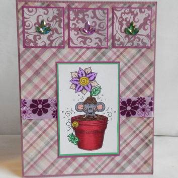 Flower Card, Paper Handmade Greeting Card, Mouse, Flourishes, Purple and Green, Potted Plant