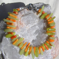 "Lemon Jade & Salmon Bamboo Coral Gemstone Bracelet - ""Harvest Dawn"""