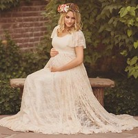 Le Couple Maternity Gown Photography Props Maternity Maxi Dresses Off White Summer Lace Stretchy Dress Maternity Photo Session