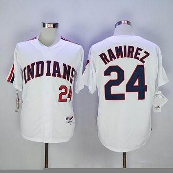 Cleveland indians 24 Jose Ramirez Baseball Jersey White Throwback